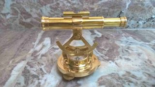 Alidade Telescope Brass With Compass Nautical Antique Marine Collectible photo