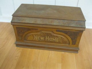 Antique Home Sewing Machine Wood Coffin Cover photo