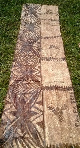 Vintage Tapa Cloth Samoa Siapo 1970s Signed By The Artist photo