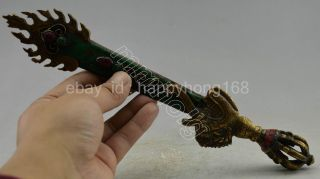 Collectible Decorated Old Handwork Tibet Turquoise Copper Manjushri Wisdom Sw0rd photo