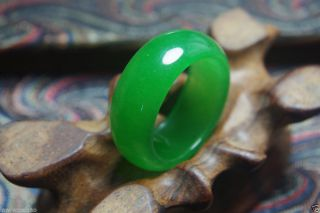 Natural Green Jade Hand Carved Jade Ring photo