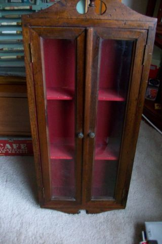 Antique Vintage Wood And Glass Curio Display Case Cabinet.  Wall photo