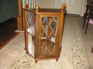 Vintage Display Cabinet Wood Glass Mid Century photo