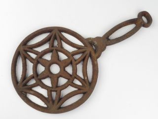 Antique Cast Iron Stove Counter Pan Pot Table Trivet Star Design photo