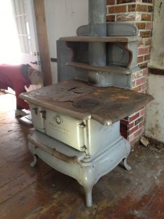 Grey Porcelain Antique Kitchen Wood Coal Cast Iron Stove All 4 Burner photo