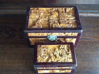 Oriental Carved Wooden Boxes Decoration In photo
