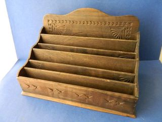 Very Early Australian Hand Carved Wooden Chip Carved Desk Tidy Letter Paper Rack photo