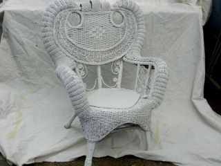 Vintage Victorian White Wicker Chair Wakefield Nr photo