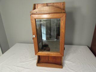 Small Antique Hand Made Wooden Folk Art Medicine Cabinet Oak & Pine Great Size photo