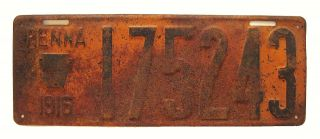 Pennsylvania 1916 License Plate,  Ww1 - Era Automobilia Sign,  Man Cave,  Garage Wall photo