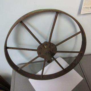 Large Rusty Old Vintage Steel Spoked Wheel : Primitive,  Repurpose,  Steampunk photo