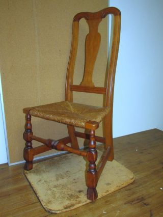 A Great Early 18th C Ma Queen Anne Chair Bold Spanish Feet With A Carved Crest photo