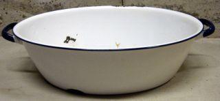 Old Vintage Oval Enamel Country Farm Baby Bath Tub Wash Basin Blue White Antique photo