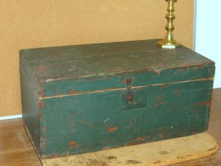 A Late Small 18th C Lift Top Blanket Chest In Old Green Paint Over Red photo