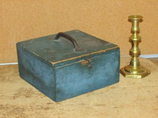Rare 19th C Pine 4 Section Spice Box In The Best Grungy Blue Paint photo
