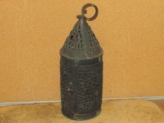 Great 18th C Pierced Tin Paul Revere Type Lantern Great Black Paint photo