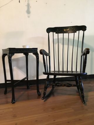 Vintage Exceptional - Ethan Allen Boston Rocker,  Rocking Chair,  Black Rocking Ch photo