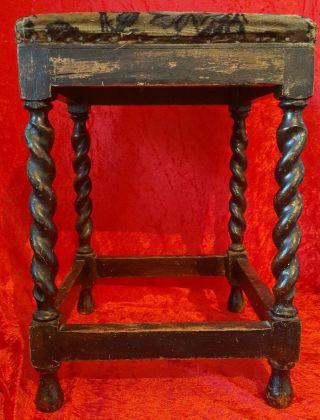 Antique Victorian Dark Oak Barley Twist Legged Stool Woodland Design Fabric photo