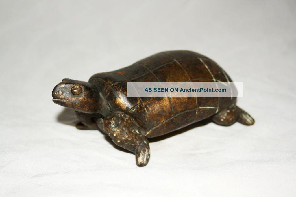Antique Solid Cast Bronze African Tribal Art Rare Ashanti Akan Sculpture Turtle Sculptures & Statues photo