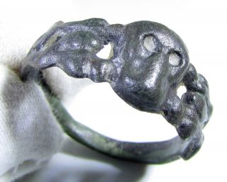 Rare Post Medieval Bronze Memento Mori Finger Ring - Skull - Wearable - Mn65 photo
