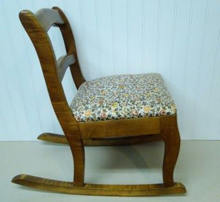 Vintage Wooden Childs Armless Rocking Chair Cushion Seat Hardwood Hand Made? Euc photo