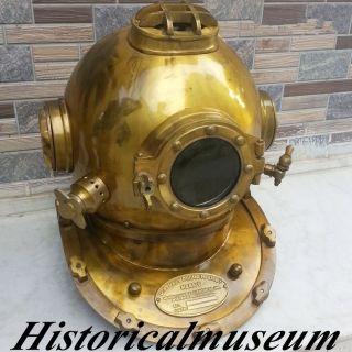 Antique Vintage Brass Diving Divers Helmet Hm755 U.  S Navy Mark V photo