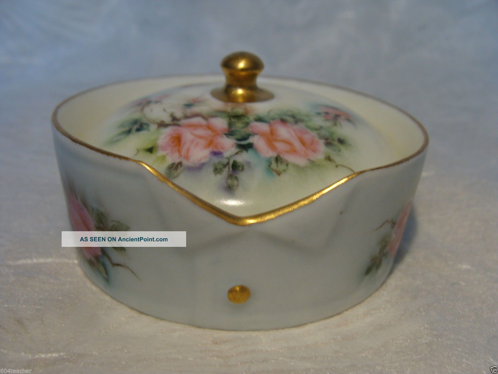 Germany Bavaria Hand Painted Porcelain Stud Collar Button Box German Rosenthal Baskets & Boxes photo