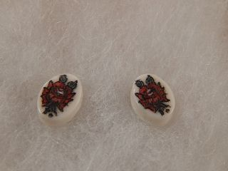 Scrimshaw Bovine Bone - Post Earring - Red Rose photo