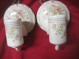 Porcelier Porcelain 2 Pull Chain Electric Floral Wall Light Sconce Socket Vtg photo