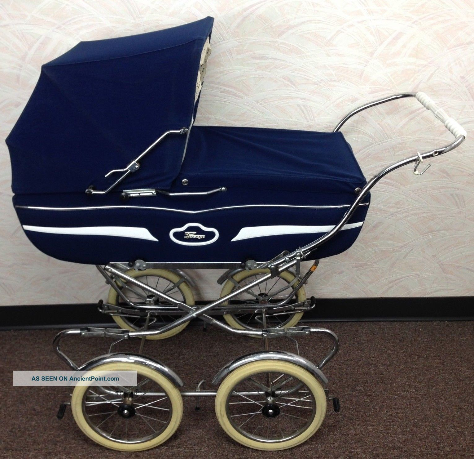 Vintage Perego Navy Blue Italian Stroller Baby Carriage Buggy - Baby Carriages & Buggies photo