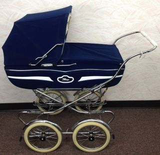 Vintage Perego Navy Blue Italian Stroller Baby Carriage Buggy - photo