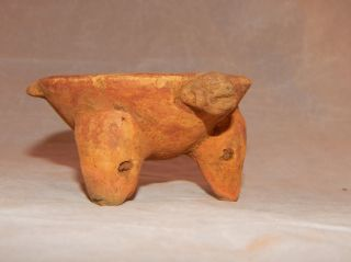 Pre - Columbian Tripod Bowl With Zoomorphic,  Ancient Artifact,  Rattle Legs photo