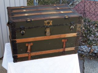 Antique Steamer Trunk Vintage Victorian Wooden Flat Top Antique Chest photo