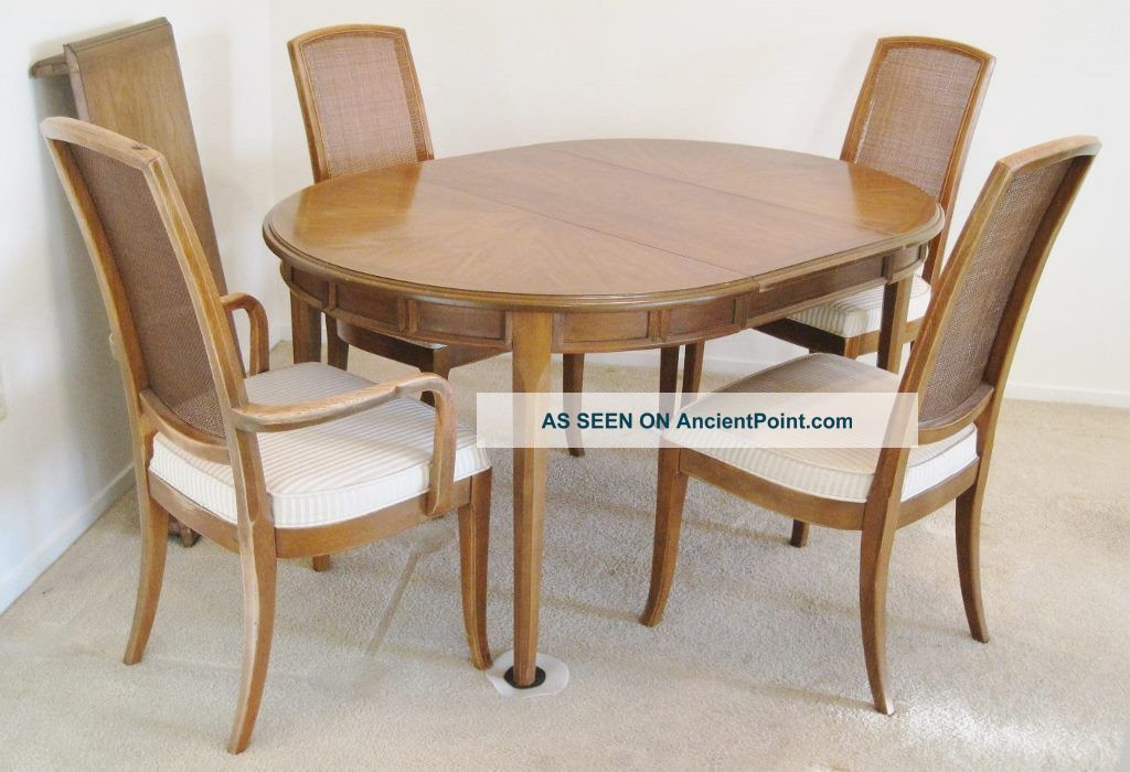 Vintage Mid - Century Drexel Collage Walnut Table 4 Cane Chairs Leaves Table Pads Post-1950 photo