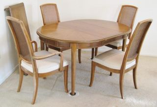 Vintage Mid - Century Drexel Collage Walnut Table 4 Cane Chairs Leaves Table Pads photo