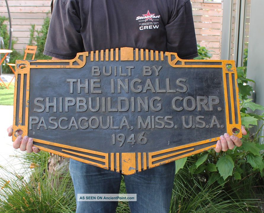 Antique Vintage Wwii Era Ingalls Shipbuilding Corp Ship Hull Id Builders Plate Plaques & Signs photo