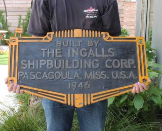 Antique Vintage Wwii Era Ingalls Shipbuilding Corp Ship Hull Id Builders Plate photo