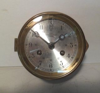 Wempe Chronometerwerke Hamburg Ships Bell Clock 8 Day Brass Finish photo