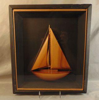 Vintage Sm.  Framed Folk Art Sailboat Half Hull Estate Fresh photo