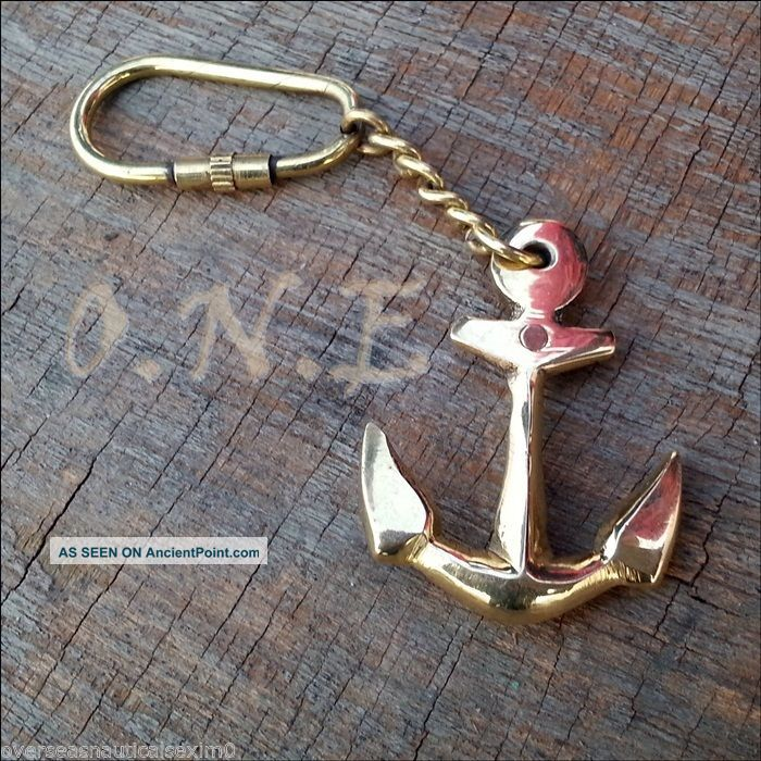 Nautical Marine Solid Brass Ship Anchor Key Chain Vintage Style Gift Maritime Anchors photo