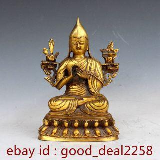 Chinese Brass Handwork Carved Buddha Statue photo