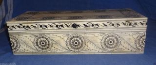 Vintage Look Decorative Collectible Black Floral Painted Camel Bone Box photo