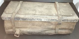 Antique 1880 ' S Colorado Gold Silver Miners Handmade Leather Tool Box Chest Mine photo