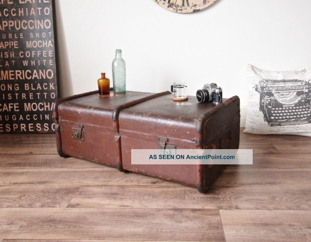 Antique Travel Steamer Trunk Coffee Table Vintage Storage Chest With Tray Ship Equipment photo