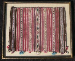 C.  1850 Bolivian Chuspa Coca Bag Hand Woven Textile photo