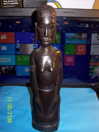 Vtg.  African Art Statue Figure Ebony Woman Carving Very Nicely Made As Pictured photo