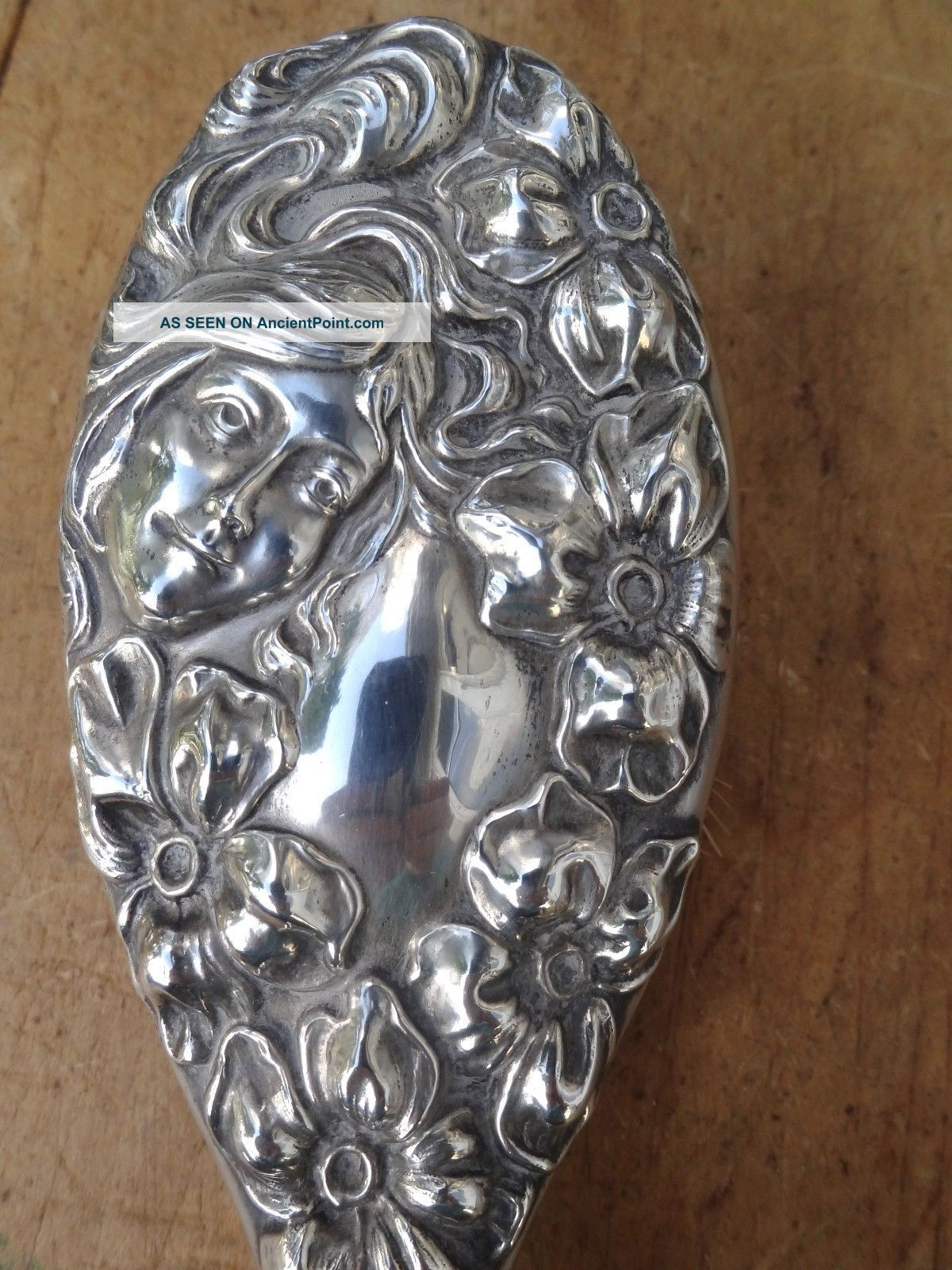 Antique Sterling Art Nouveau Hair Brush - Lady Flowing Hair - Flower - Repousse - Vanity Brushes & Grooming Sets photo
