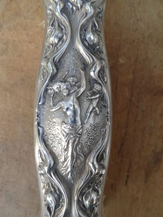 Antique Sterling Wallce Brush Cherubs - Arrows - Lady - Art Nouveau - Repousse - 1903 photo