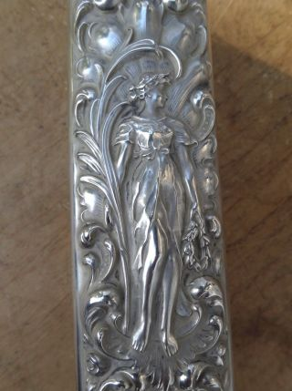 Antique Sterling Brush Lady Holding Wreath - Roses - Art Nouveau - Repousse photo