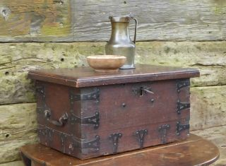 17th Century Oak And Iron Bound Strong Chest photo